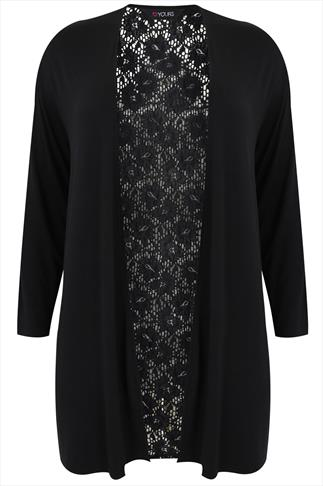Black Long Sleeve Cardigan With Floral Lace Panels