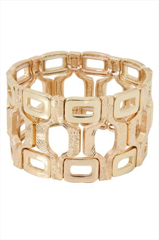 Gold Chunky Square Stretch Bracelet