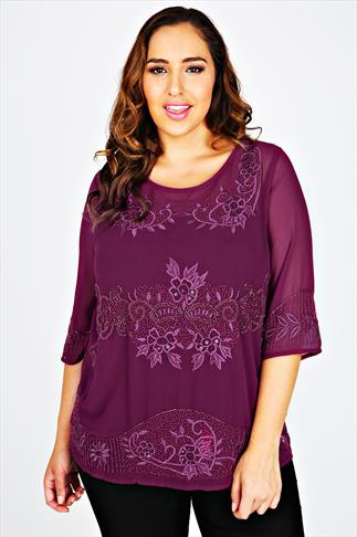 Purple Embroidered Oversized Top With Bead Embellishment