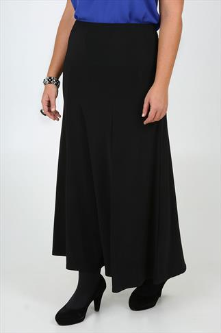 Black Slinky Stretch Jersey Maxi Skirt With Panel Detail