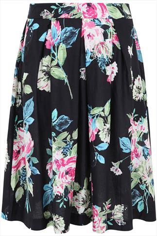 Black And Multi Floral Box Pleat Midi Skirt