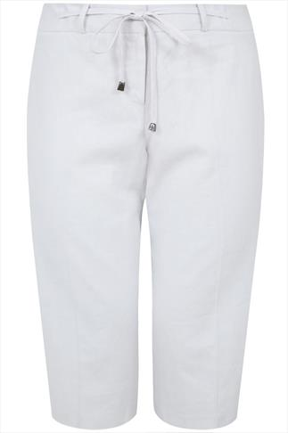 White Linen Mix Cropped Trousers With Tie Detail