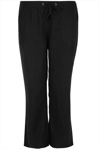 Black Linen Mix Full Length Trousers With Stitch Detail