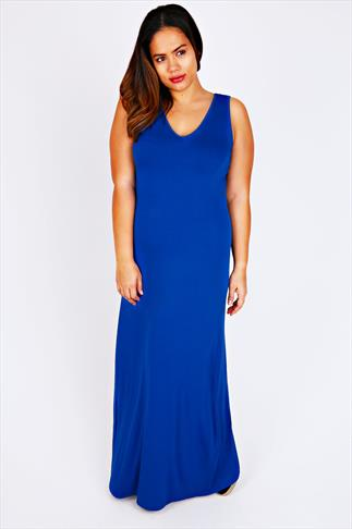 Cobalt Blue Plain V-Neck Sleeveless Jersey Maxi Dress