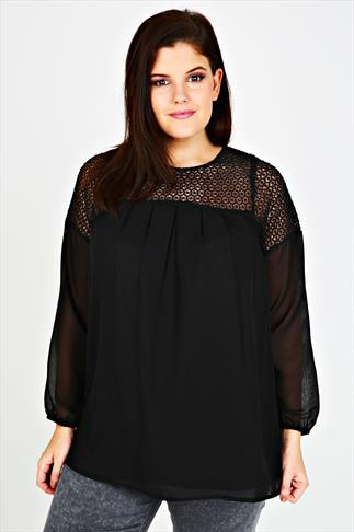 Black Swing Blouse With Crochet Panel