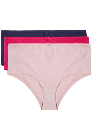 Navy, Peach And Fuchsia Pink 3 Pair Pack Cotton Short Briefs