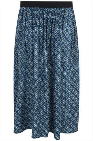 Blue, White & Black Geometric Print Flare Skirt With Elasticated Waist