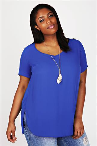 Cobalt Blue V-Neck Chiffon Top With Pleat Back And Dipped Hem