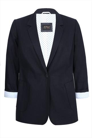 Navy Linen Blazer Jacket With Contrasting Rolled Dotted Cuff