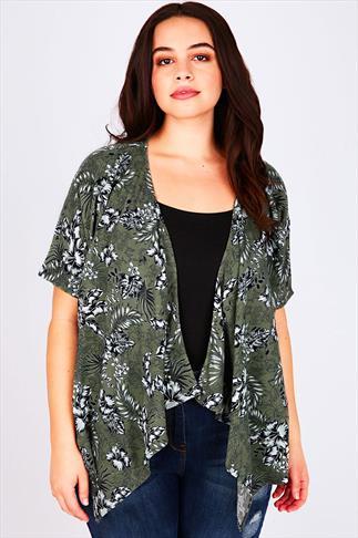 Green Botanical Palm Print Kimono With Waterfall Front