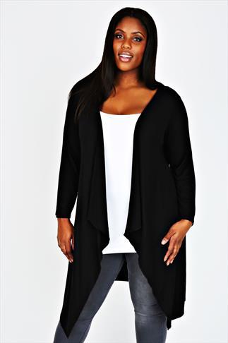 Black Draped Front Waterfall Jersey Cardigan