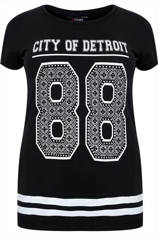 Black Short Sleeved T-Shirt With 'DETROIT 88' Print