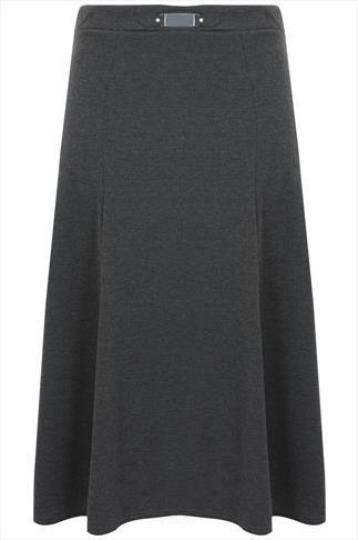 Charcoal Buckle Waist Panelled Skirt