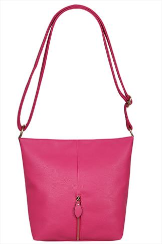 Fuchsia Slouch Shoulder Bag With Front Zip Detail