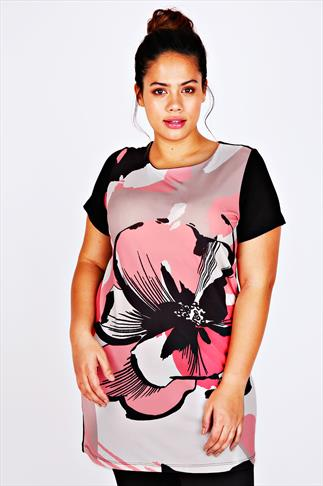 Cream & Pink Pansy Print Longline Top
