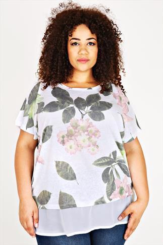White & Pale Pink Floral Print Chiffon Hem Layer Top