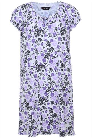 Lilac Rose Print Gypsy Style Cotton Nightdress