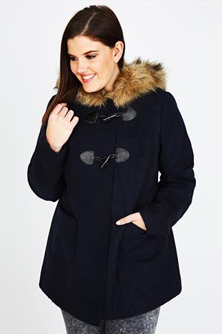 Navy Pea Coat With Panel Detail & Fur Trim Hood