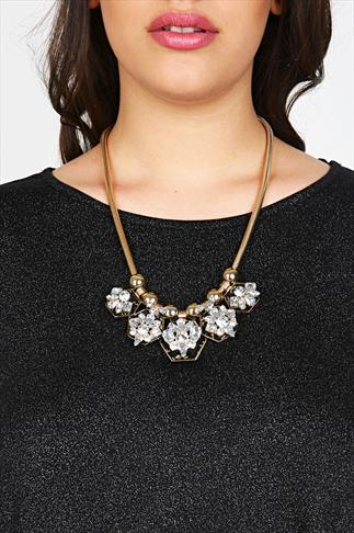 Gold Crystal Stone Snake Chain Statement Necklace