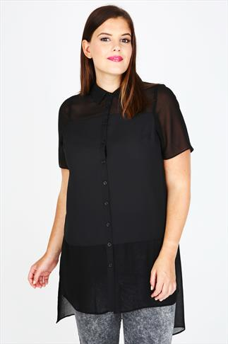 Black Short Sleeve Longline Shirt With Sheer Panels