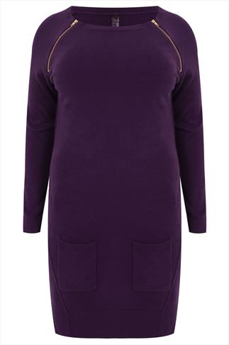 Purple Supersoft Tunic With Front Pockets and Zip Detail