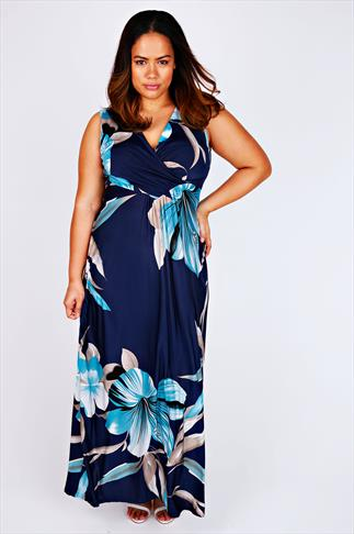 Navy & Aqua Tropical Lily Print Wrap Front Maxi Dress