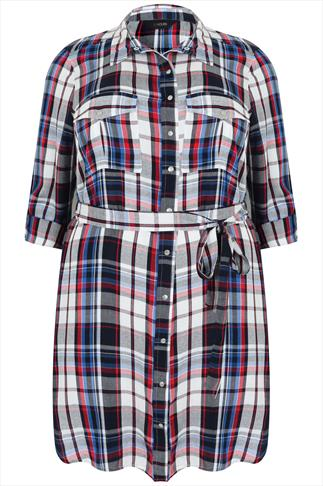 Navy & Red Checked Shirt Tunic With Tie Waist