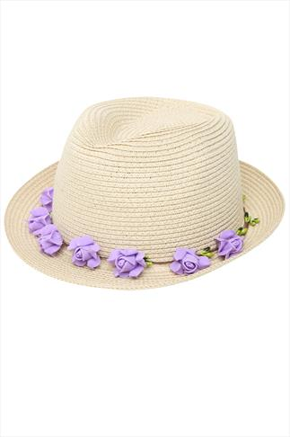 Natural Paper Straw Trilby Hat With Purple Flower Garland