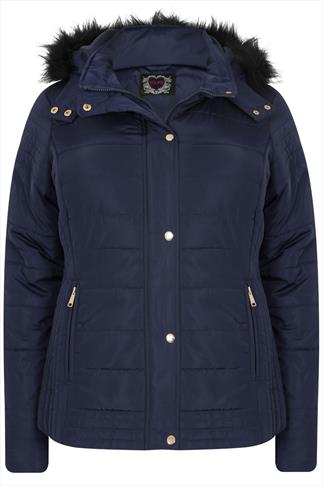 Navy Puffa Coat With Fur Trim Hood