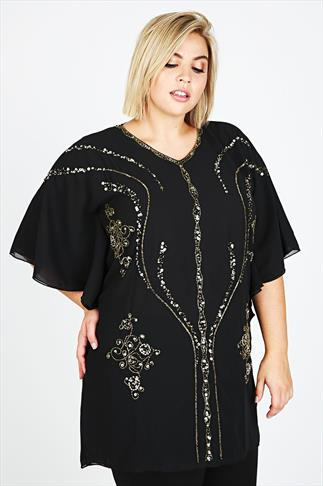 Black Angel Sleeve Longline Top With Embellishment