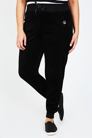 Black Velour Crown Detail Cuffed Joggers With Elasticated Waist