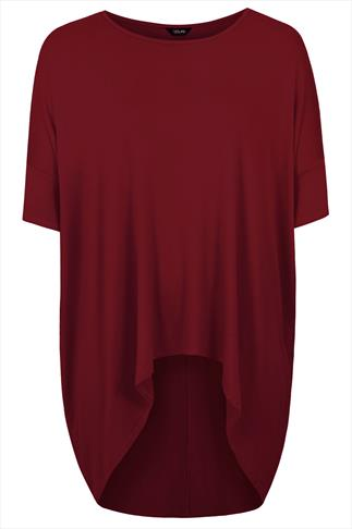 Burgundy Oversized Top With Extreme Dipped Hem