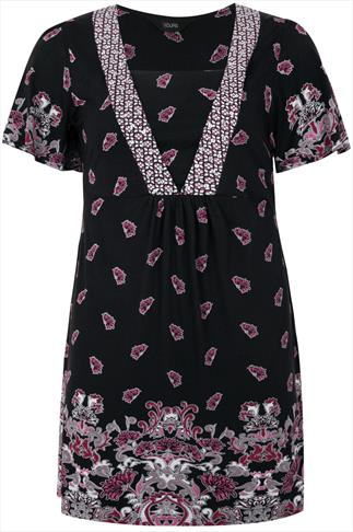 Black And Pink Jersey Tunic With Ditsy Floral Print Border