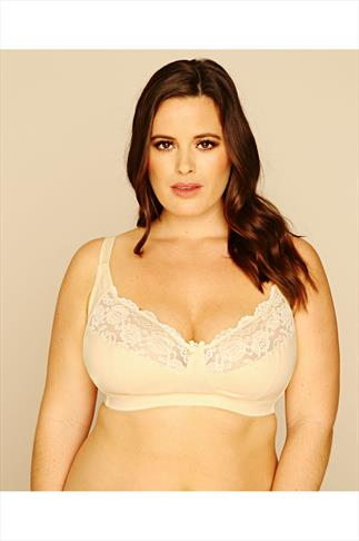 Lemon Cotton Rich Non Wired Bra With Lace Trim
