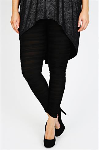 Black Leggings With Textured Ribbed Detail