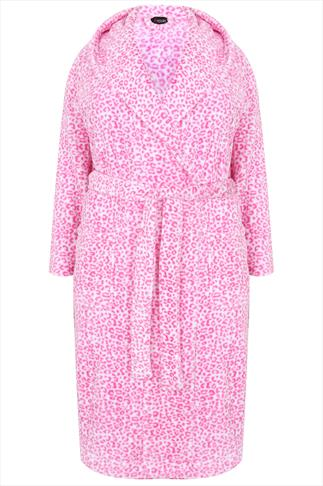 White & Pink Animal Print Super Soft Fleece Dressing Gown With Pockets