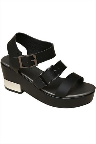 Black Platform Sandals With Silver Trim Heel In EEE Fit