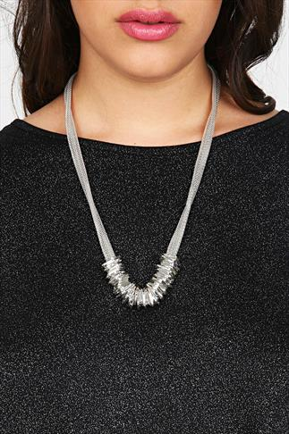 Silver Chain Multi Hoop Statement Necklace