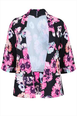 Black & Multi Coloured Floral Print Crepe Blazer Jacket