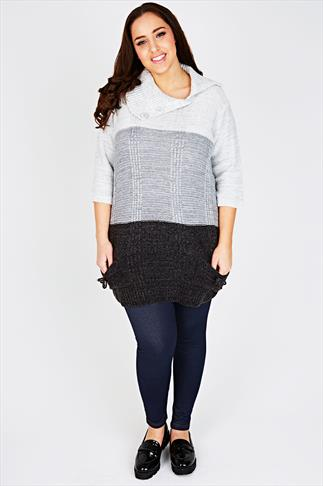 Grey Tonal Block Stripe Knitted Tunic Jumper With 3/4 Length Sleeves