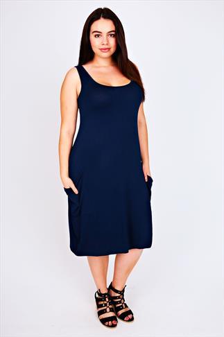 Navy Sleeveless Jersey Dress with Dropped Pockets