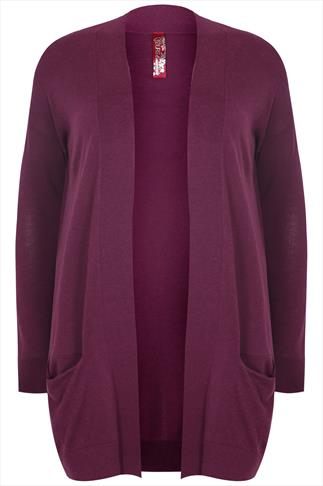 Dark Pink Longline Cardigan With Slouch Pockets