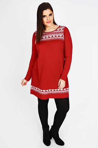 Red & White Alpine Print Knitted Tunic Jumper