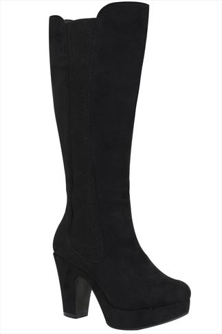 Black Knee High Suedette Platform Boots With Panels In EEE Fit