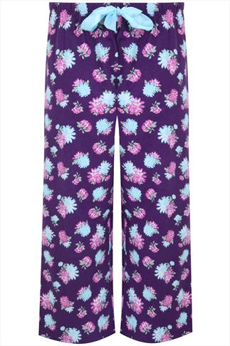 Purple Floral Print Pjyama Bottoms
