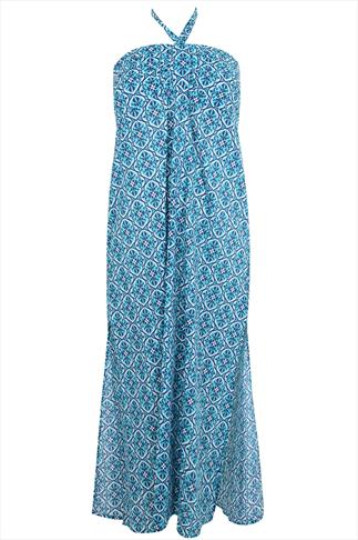 Turquoise Halter Neck Tile Print  Maxi Dress