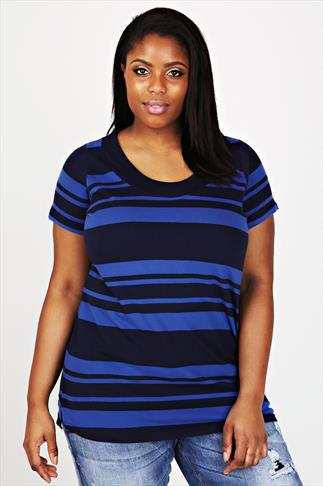 Navy & Blue Short Sleeve Deep Band Stripe Tee