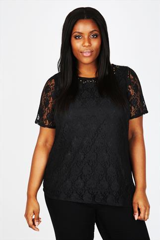 Black Lace Short Sleeved Top With Gold Embellished Neckline