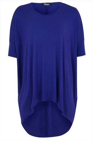 Colbalt Blue Oversized Top With Extreme Dipped Hem