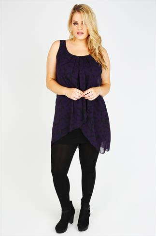 Black And Purple Floral Print Chiffon Overlay Tunic Dress